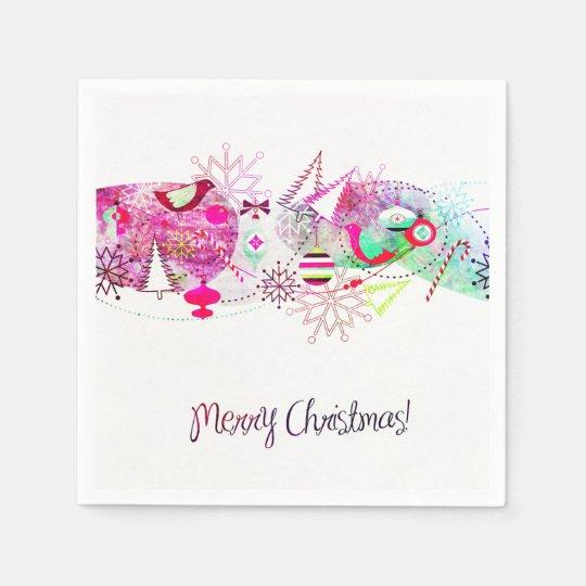 Vintage Purple Merry Christmas Ornaments Paper Napkin