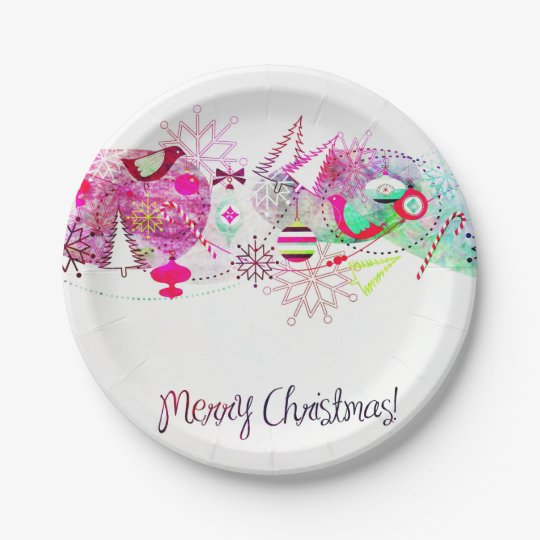 Vintage Purple Merry Christmas Ornaments Paper Plate