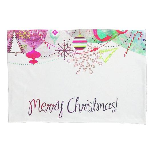 Vintage Purple Merry Christmas Ornaments Pillowcase