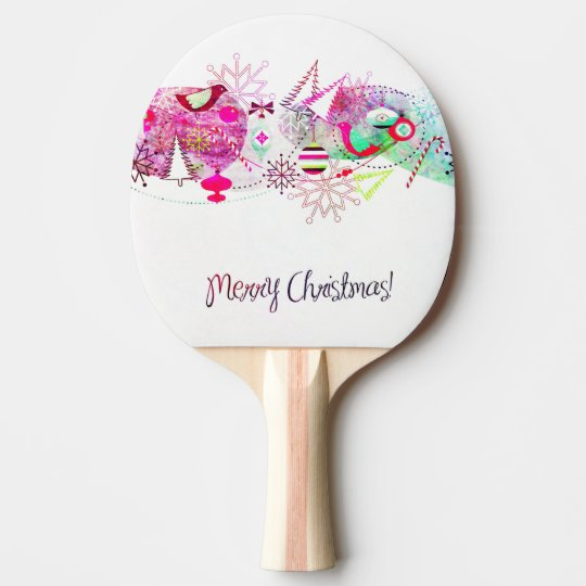 Vintage Purple Merry Christmas Ornaments Ping Pong Paddle