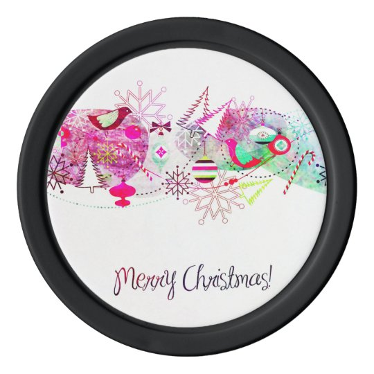 Vintage Purple Merry Christmas Ornaments Poker Chips