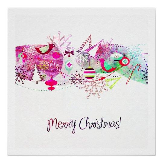 Vintage Purple Merry Christmas Ornaments Poster
