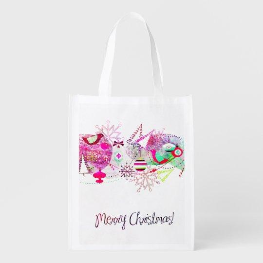 Vintage Purple Merry Christmas Ornaments Reusable Grocery Bag