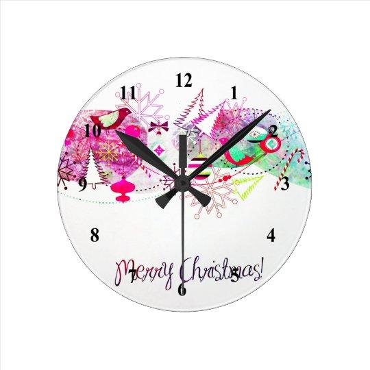 Vintage Purple Merry Christmas Ornaments Round Clock