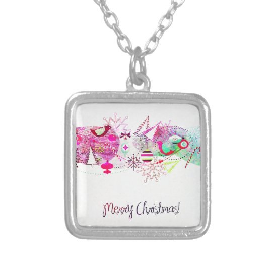 Vintage Purple Merry Christmas Ornaments Silver Plated Necklace