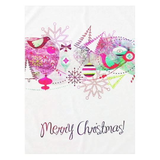 Vintage Purple Merry Christmas Ornaments Tablecloth