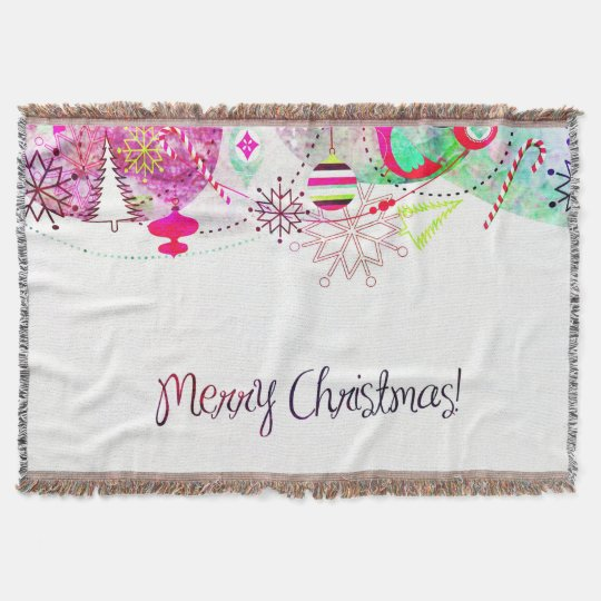 Vintage Purple Merry Christmas Ornaments Throw Blanket