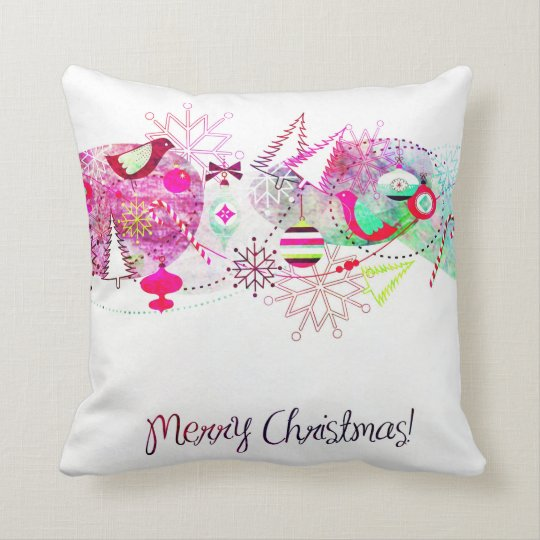 Vintage Purple Merry Christmas Ornaments Throw Pillow