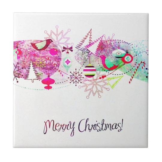Vintage Purple Merry Christmas Ornaments Tile