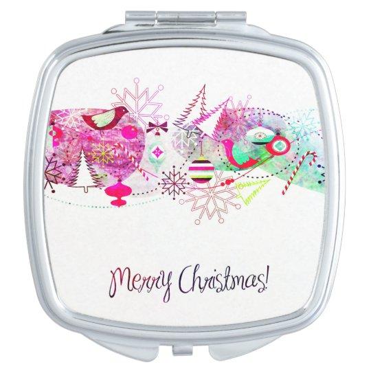 Vintage Purple Merry Christmas Ornaments Vanity Mirrors