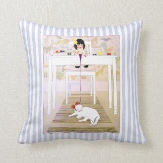 Vintage Purple Oops Cat Pillow