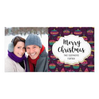 Vintage Purple Ornaments Christmas Photo Card