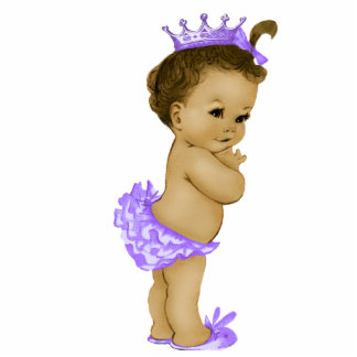 Vintage Purple Princess Baby Girl Shower Standing Photo Sculpture