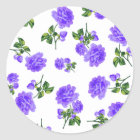 Vintage Purple Roses Classic Round Sticker