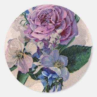 Vintage Purple Roses Round Sticker