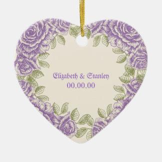 Vintage purple roses Wedding Ceramic Ornament