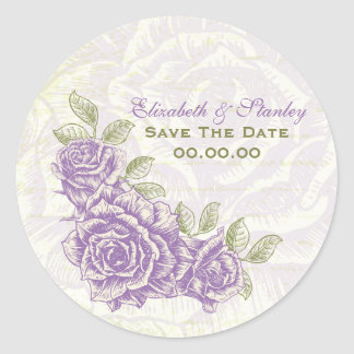 Vintage purple roses wedding Save the Date sticker