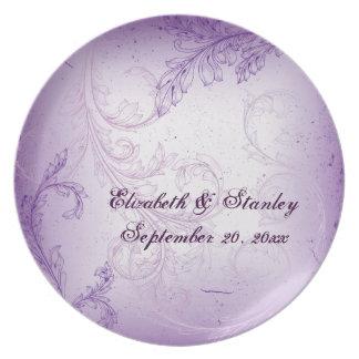 Vintage purple scroll leaf wedding keepsake plate