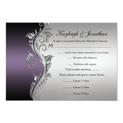 Vintage Purple Silver Black RSVP Invitation