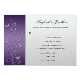 Vintage Purple Silver Floral Butterflies RSVP Card