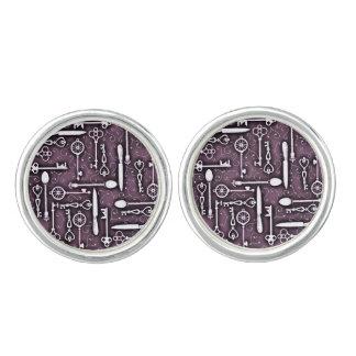 Vintage Purple Steampunk Pattern of Keys Spoons Cufflinks