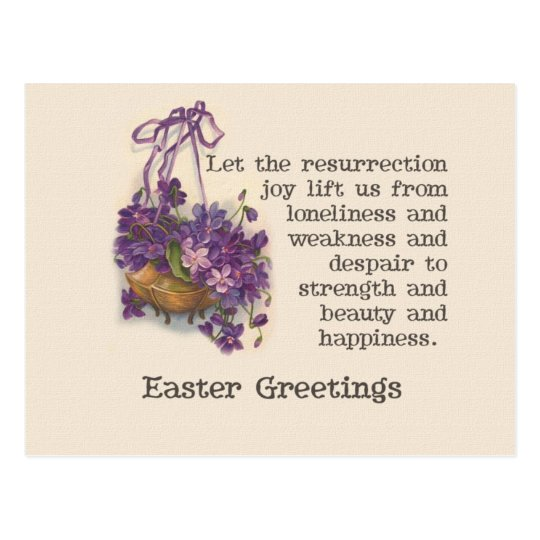 Vintage Purple Sweet Pea Basket Easter Post Card
