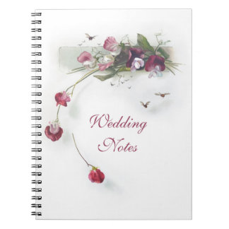 Vintage purple sweet peas notebook