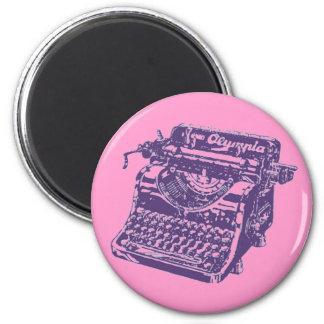 Vintage Purple Typewriter 2 Inch Round Magnet