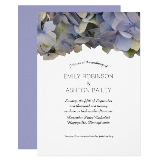 Vintage Purple Wedding Invitation Hydrangea Border