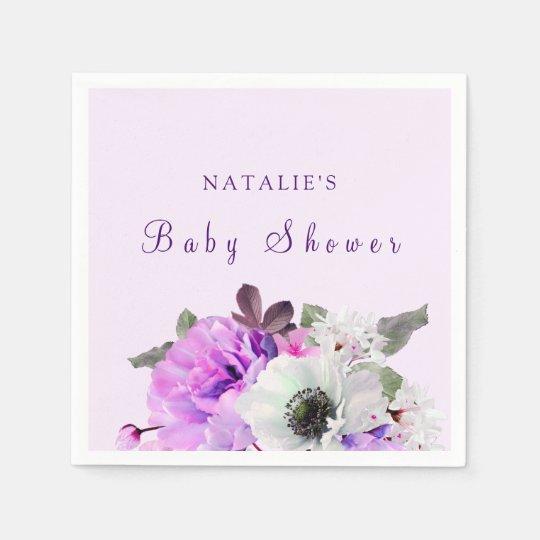 Vintage Purple White Flower Baby Shower Napkin Disposable Napkins