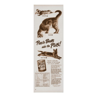 Vintage Puss 'n Boots Cat Food Ad from 1949 Poster