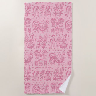 Vintage Pyrex Pattern - Butterprint Pink Beach Towel