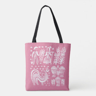 Vintage Pyrex Pattern - Butterprint Pink Tote Bag