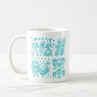 Vintage Pyrex Pattern - Butterprint Turquoise Blue Coffee Mug