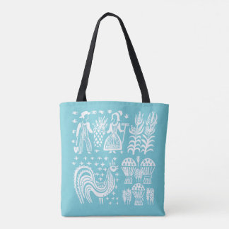 Vintage Pyrex Pattern - Butterprint Turquoise Blue Tote Bag