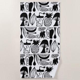 Vintage Pyrex Pattern - Mod Kitchen (Black) Beach Towel