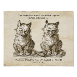 Vintage Quarrelsome Cats Illustration 1877 Poster