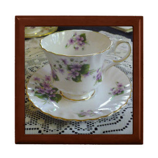 Vintage Queen Anne Violets Tea Cup Box