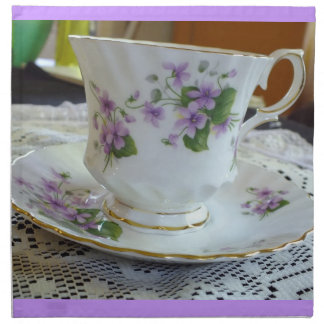 Vintage Queen Anne Violets Tea Cup Napkins