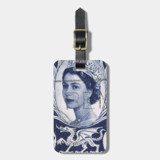 Vintage Queen Elizabeth UK Britain Luggage Tag