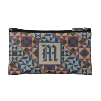 Vintage Quilt Pattern Monogram Cosmetic Case
