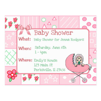 Vintage Quilt Pink Girl's Baby Shower Invitation Postcard