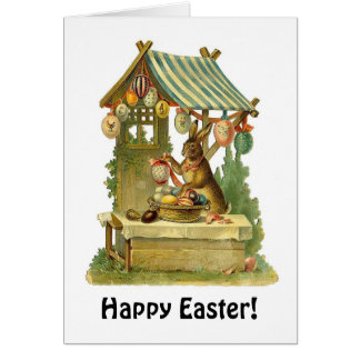 Vintage Rabbit and Easter Eggs Card