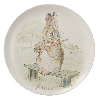 VINTAGE RABBIT EATING A CARROT, CUTE BUNNY PLATE
