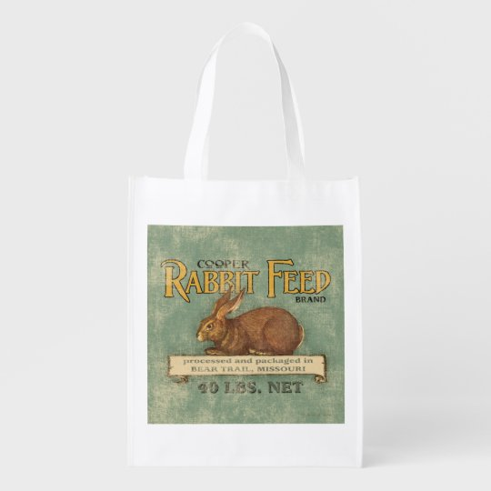 Vintage Rabbit Feed Sack, grocery bag