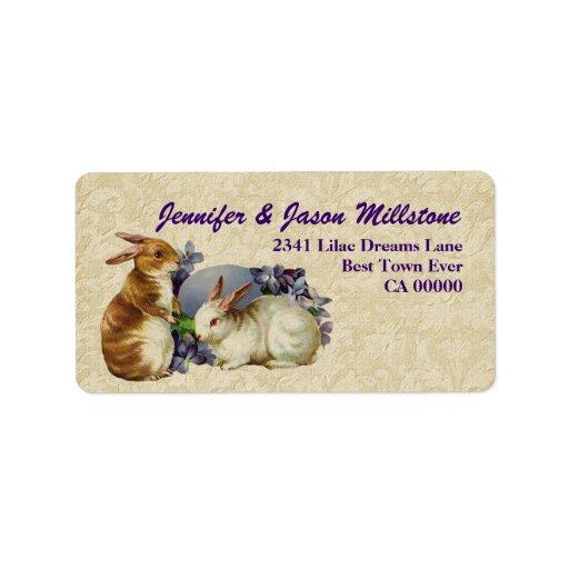Vintage Rabbits with Egg Cream Purple Gold Address Label