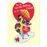 Vintage Raccoon Valentine Post Card