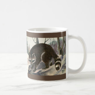 Vintage Raccoon, Wild Animal Forest Creatures Coffee Mug