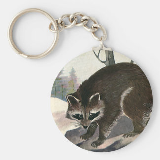 Vintage Raccoon, Wild Animal Forest Creatures Keychain