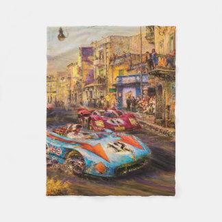 Vintage Racing Cars Automobile Race Fleece Blanket